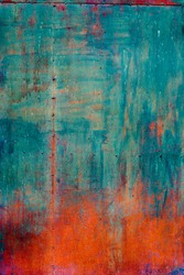 Rusty Colored Metal with cracked paint, grunge background, Blue and Orange