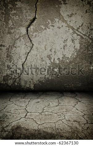 rusty cracked concrete dark  vintage interior with artostic shadows added