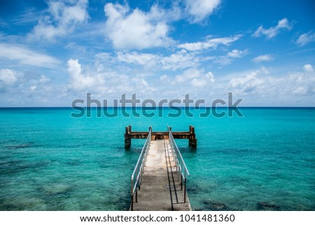 Rusty dock at Bermuda beach Сток-фото ©