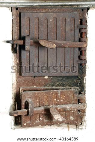 Rusty door of old stove
