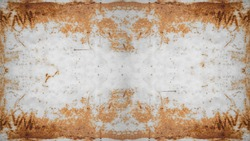Rusty frame , white weathered metal wall texture, with space for text, background banner