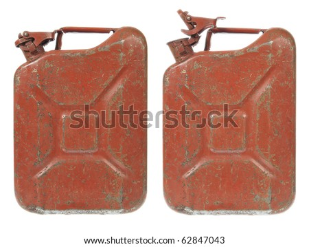 Rusty Gas Can isolated on white. Closed and Open