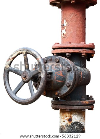 rusty gas valve isolated on white - stock photo
