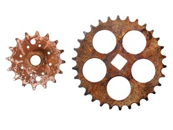 Rusty gear wheels isolated on white