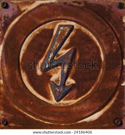 Rusty high voltage sign