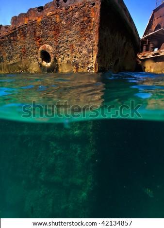 Rusty hulls of shipwrecks at Moreton Island, Australia