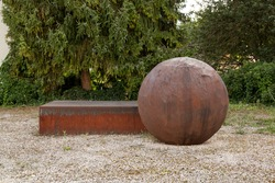 rusty iron cuboid and sphere