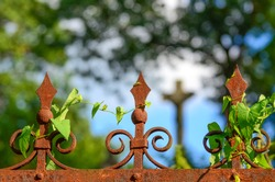 Rusty iron fence