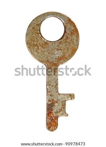 Rusty key isolated on a white background.
