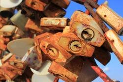 Rusty keys at Love lock top hill at Songkhla Thailand