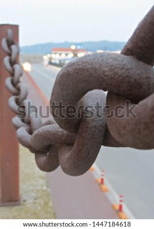 rusty links of old huge chain link macro #1447184618