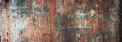 rusty metal background texture with old paint, panoramic view