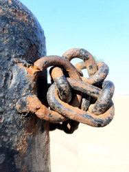 Rusty metal chain ,colours and texture of rusty old chain
