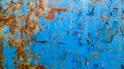 rusty metal industrial rough dirty painted blue surface background