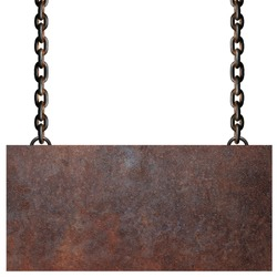 Rusty metal plate and chain on white background