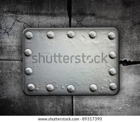 Rusty metal plate, metal plate with rivets
