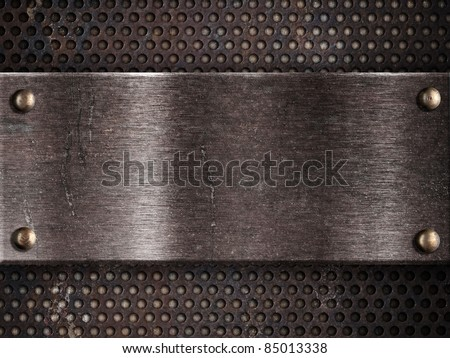 rusty metal plate on grid background