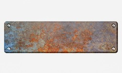Rusty metal plate with rivets on white background