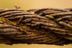 Rusty metal ship rope macro