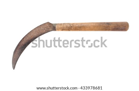 rusty metal sickle isolated on...