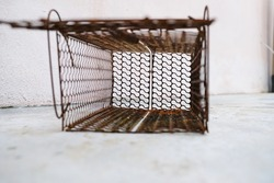 Rusty mouse trap. This Rat Trap is made of iron. Rat bait installed in it. When the mouse tries to reach the bait, the door will automatically close