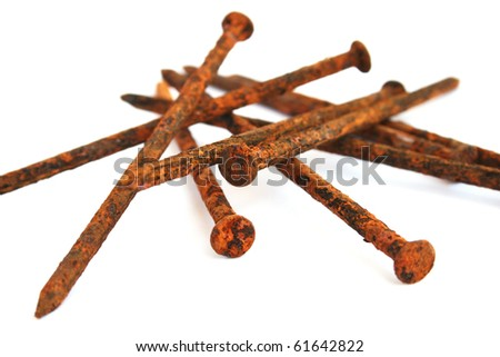 Rusty nails isolated on white background.
