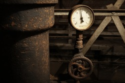 Rusty nanometer in old factory.