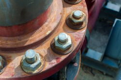 Rusty nut and bolt, Close up and selective focus