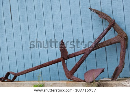 Rusty Old Anchor , Port Clyde, Maine, USA - stock photo