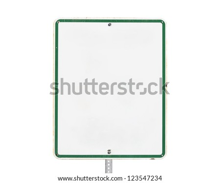 Rusty old blank white sign with isolated with clipping path.