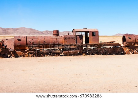 rusty old steam train at the...