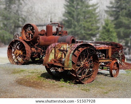 Rusty old tractors