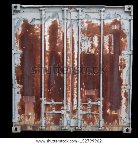 Rusty orange container doors - stock photo