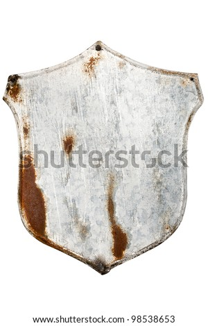 Rusty painted metal plate isolated on white