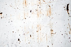 Rusty painted metal surface on wall background with grey color, front or top view.
