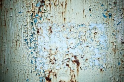 Rusty peeled blue and green paint background