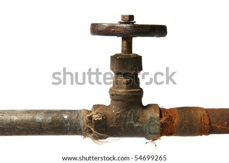rusty pipe and valve isolated on white