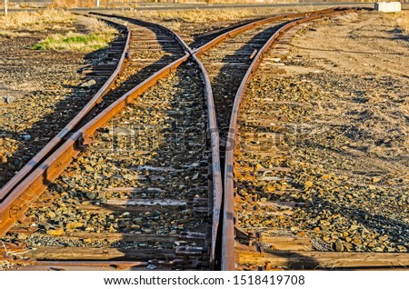 Rusty railroad tracks splitting off into two different directions with each ending abruptly