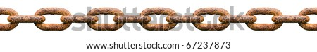Rusty seamlessly chain isolated on white background.