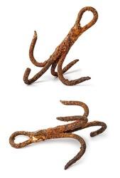 Rusty ship anchor isolated on white background