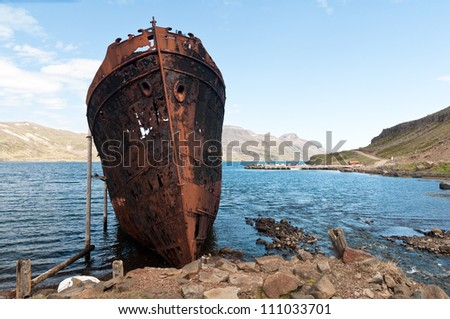 rusty shipwreck in Djupavik, Iceland