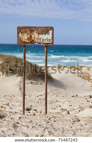 Rusty signal in a beach of Boa Vista