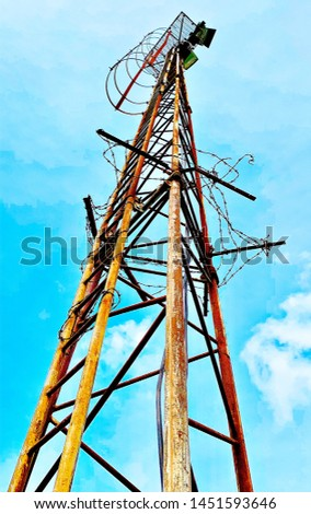 Rusty sports field floodlights tower #1451593646