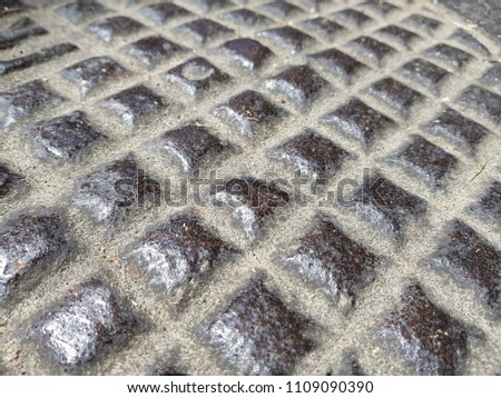 Rusty steel plate texture and background. Old grungy metal floor seamless of steel sheet metallic. It's silver with rhombus shapes for design art work, backdrop or skin product. #1109090390