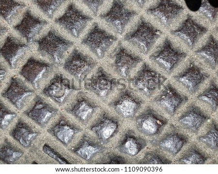 Rusty steel plate texture and background. Old grungy metal floor seamless of steel sheet metallic. It's silver with rhombus shapes for design art work, backdrop or skin product. #1109090396
