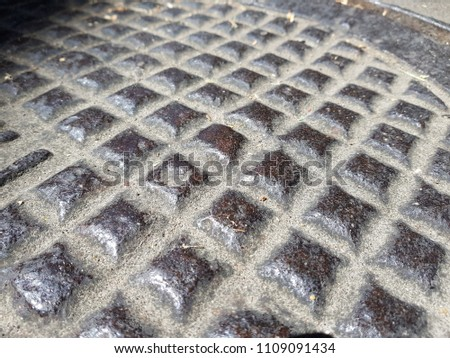 Rusty steel plate texture and background. Old grungy metal floor seamless of steel sheet metallic. It's silver with rhombus shapes for design art work, backdrop or skin product. #1109091434