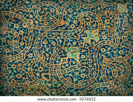 rusty tiled background, oriental ornaments from Isfahan Mosque, Iran