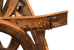 Rusty twisted metal on a white background with clipping path