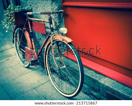 rusty vintage red bicycle...