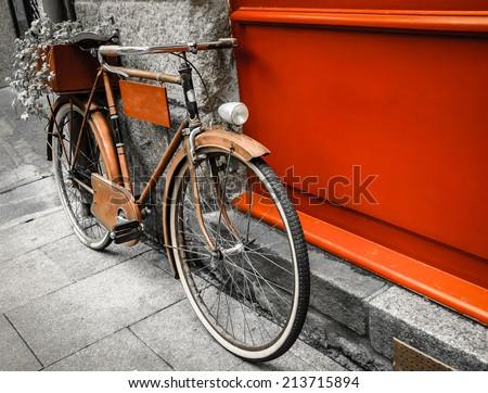 rusty vintage red bicycle...
